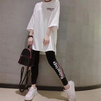 ONETOW Balenciaga' Women Casual Letter Wave Stripe Print Middle Sleeve Leggings Trouse