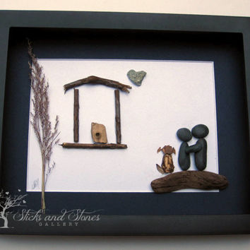 Unique Housewarming Gift- Personalized COUPLE'S Gift- SticksnStone Designs-Housewarming Gift - Pebble Art -Couple and Dog Art- New Home Gift