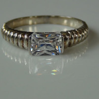 925 Sterling Silver Cubic Zirconia Rectangle Cut Ring