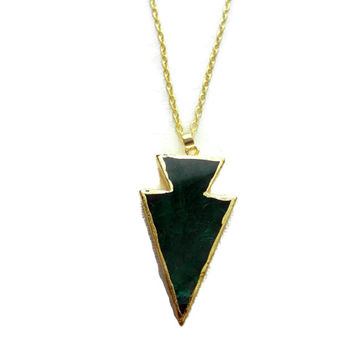 Christmas in July Sale: Emerald Green and Gold Arrow Natural Gemstone Charm Necklace