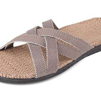 Flammi Womens Cross Strap Slide Slippers Sandals Flat with Arch Support Linen Insole