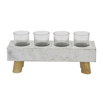 Benzara 23046 Wood Candle Holder With Glass