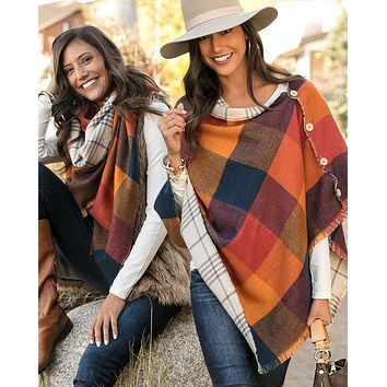 Grace & Lace Reversible Button Scarf/Poncho (Cinnamon Check)