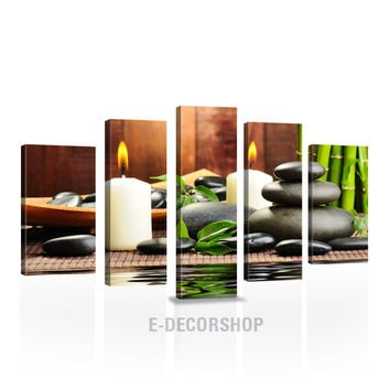 LARGE CANVAS Wall Art - Zen Yoga Relax Theme Canvas Print - Candle Light Stones Canvas Print - Wall Art Massage Decor