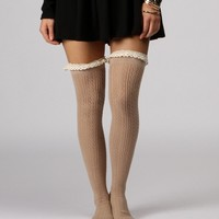Taupe Crochet Cutie Over The Knee High Socks