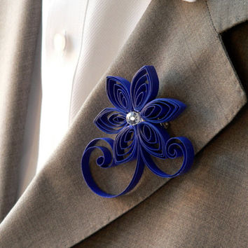 Royal Blue Boutonniere, Horizon Wedding Buttonhole, Classic Blue Wedding Boutonniere, Cobalt Wedding