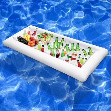 Pool Float Inflatable Table Bucket Serving/Salad Bar Tray Food Drink Holder