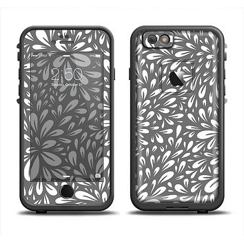 The Gray & White Floral Sprout Skin Set for the Apple iPhone 6 LifeProof Fre Case