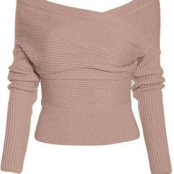 Cupshe Straight To You Cross Ribbed Sweater