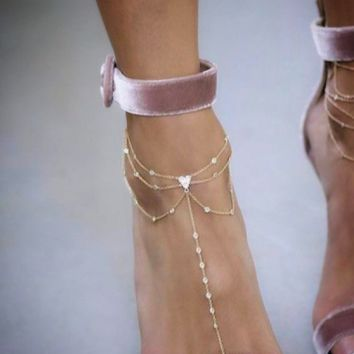 White Zircon Foot Chain Anklet,Barefoot Sandal 925 Sterling Silver