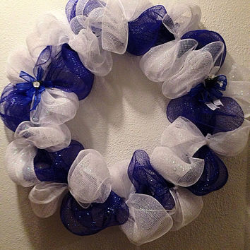 Hanukkah wreath. Blue and white deco mesh wreath.