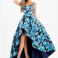 Rachel Allan 7702 Hi-Low Printed Formal Prom Dress