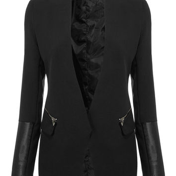 Black Blazer with Faux Leather Detail