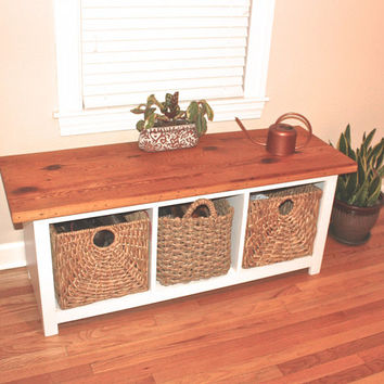Reclaimed Wood Entryway Seating Bench With Storage Cubbies