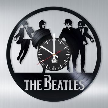THE BEATLES HANDMADE VINYL RECORD WALL CLOCK FAN GIFT