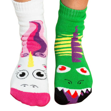 MISMATCHED Women's Dragon vs. Unicorn Battle Socks