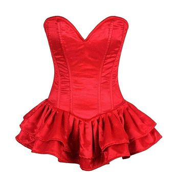Daisy Corsets Top Drawer Red Glitter Steel Boned Corset Dress