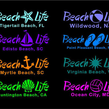 Beach Life decal Beach Life car decal Beach Life sticker Beach Life window decal Custom Beach Life Beach name decal Beach Love decal