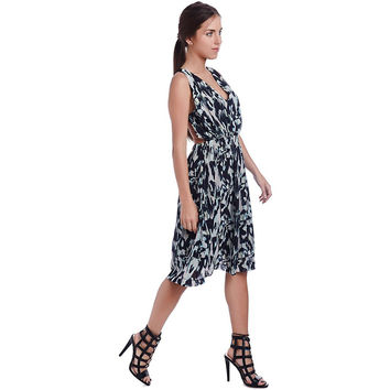 Navy blue midi dress in animal print