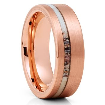Deer Antler Tungsten Ring - Rose Gold Tungsten - Tungsten Wedding Band
