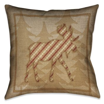 Country Cabin Moose Plaid Indoor Decorative Pillow