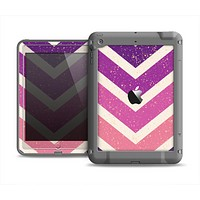 The Purple Scratched Texture Chevron Zigzag Pattern Apple iPad Air LifeProof Fre Case Skin Set