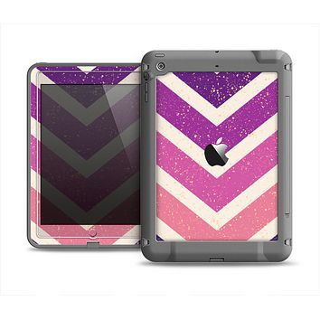 The Purple Scratched Texture Chevron Zigzag Pattern Apple iPad Mini LifeProof Fre Case Skin Set