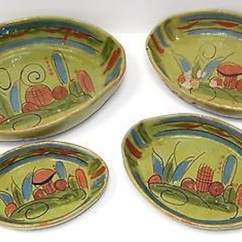 Tlaquepaque Mexican Ceramic Pottery Bowls Nesting Hand Painted Mid Century