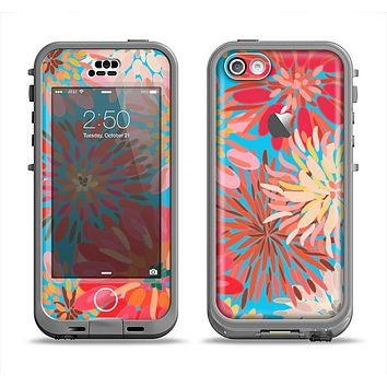 The Brightly Colored Watercolor Flowers Apple iPhone 5c LifeProof Nuud Case Skin Set
