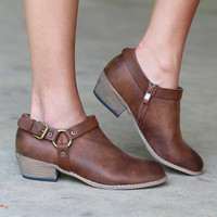 Very Volatile: Haisley Ankle Bootie with Harness {Tan}