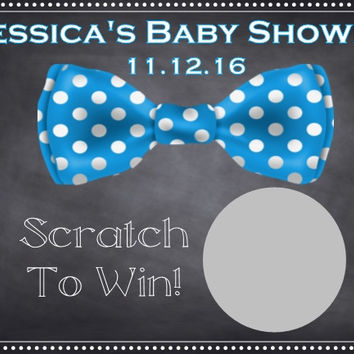 Blue Bow Tie Baby Shower Scratch Off Card