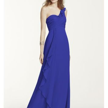 One Shoulder Chiffon Dress with Front Cascade - Davids Bridal