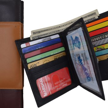 Men's Hipster Bifold Genuine Leather Multi-Card ID Holder European Wallet