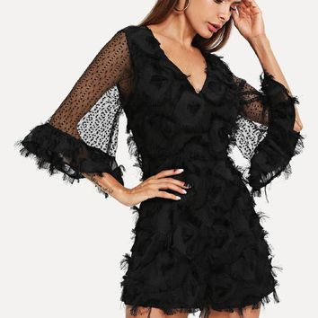 89ce2052f610 Bell Sleeve Lace Applique Plunging Romper