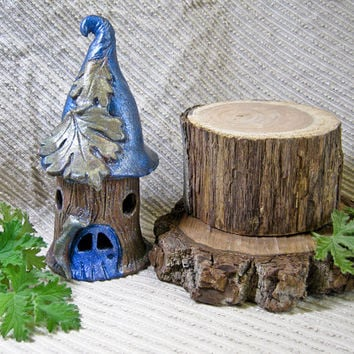 Handmade Pottery Sculpture - Fairy Garden Ideas / Fairy House with Blue Roof / Night Light