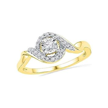 10kt Yellow Gold Women's Round Diamond Solitaire Twist Promise Bridal Ring 1/6 Cttw - FREE Shipping (US/CAN)
