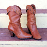Fringed leather boots / size 6 / 6.5 / western boho boots / vintage brown fringe leather boots / cowgirl boots made in Brazil