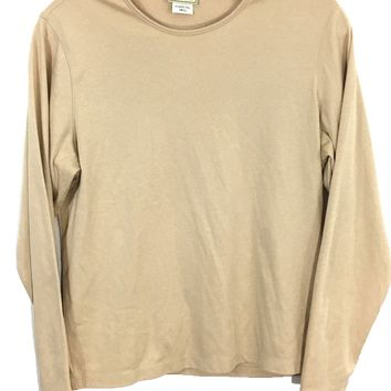 Vintage LL Bean Freeport Maine Casual Gold Crewneck Pullover Shirt Top Women's S - Preowned