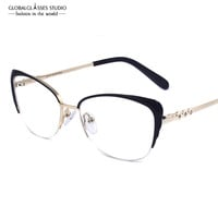Fashion Women Brand Designer Cat's Eye Glasses Half Frame Cat Eye Glasses Women Eyeglasses Frames High quality LZ