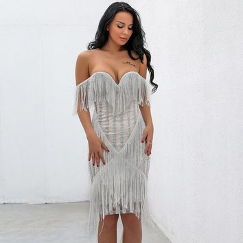 """"""".Valence"""" off the shoulder fringe detail couture party dress"""