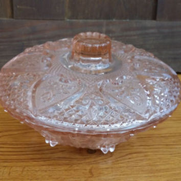 Vintage Pink Glass Lidded Candy Dish Jewelry Box by KIG Malaysia with Hearts Roses Fleur de Lis