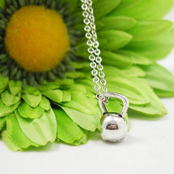 Silver Kettlebell Necklace - Fitness Jewelry - Exercise Jewelry - Kettlebell Charm - Weightlifting Necklace - Gym Jewelry - Crossfit Jewelry
