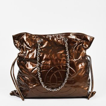 "Chanel Bronze Patent Leather 'CC' Classic Chain ""Bon Bon"" Tote"