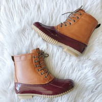 ARIZONA BOOTS- TAN/BURGUNDY