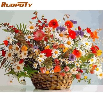 RUOPOTY Frame Flowers DIY Painting By Numbers Kits Modern Home Wall Art Picture Acrylic Coloring By Numbers Unique Gift Artwork