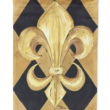 Black and Gold Fleur de lis New Orleans Flag Garden Size