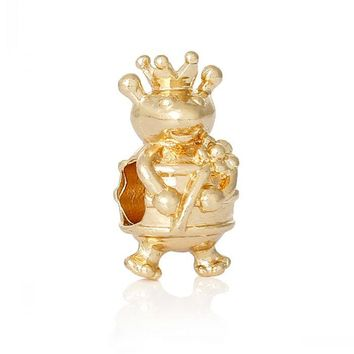 New  European Gold Charm Beads Frog Prince