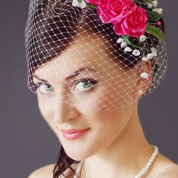 Fuchsia Bridal fascinator - Wedding Birdcage veil - Wedding fascinator -Bridal Head Piece-Silk  Flowers-White birdcage veil-White fascinator