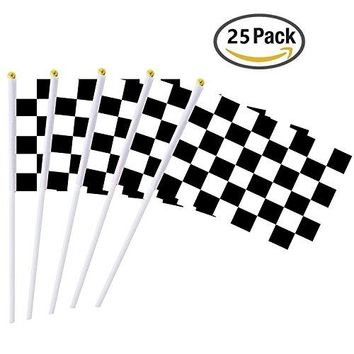 25 Pieces Checkered Flag 8 x 5.5 Inch Racing Polyester Flags on Plastic Stick ,Black & White Checkered Flag Racing Pennant Banner Flags,Decorations Supplies For Racing,Race Car Party,Sport Events