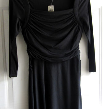 Ann Taylor short black dress with ruffled detail size 4 , small, stretch bohemian style
